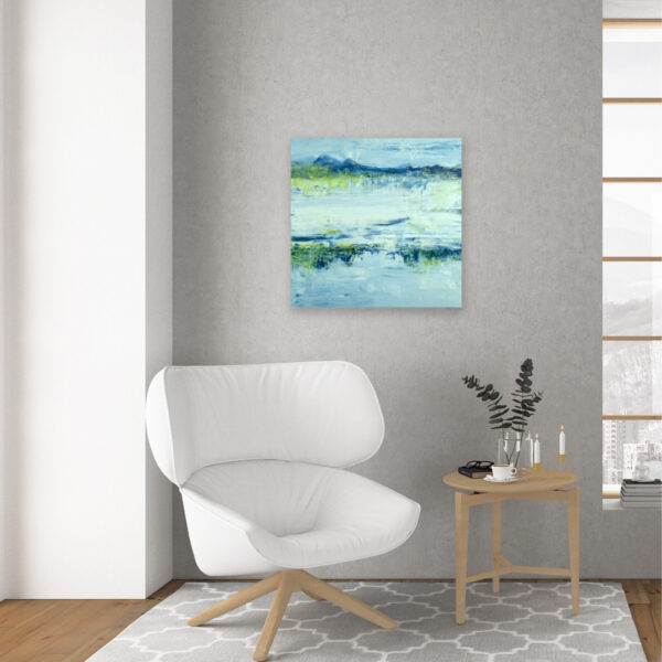 Contemporary Mountain Painting Lake Reflection VII