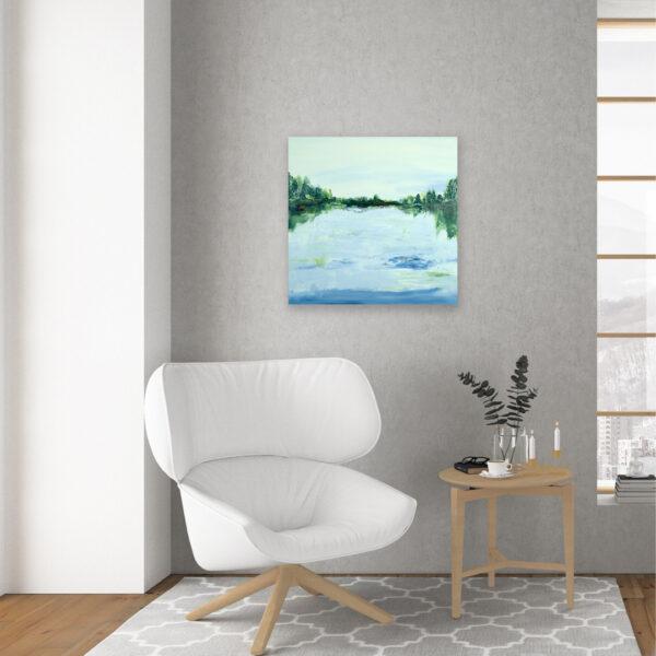 Lake Reflection I Contemporary Acrylic Art by Jema