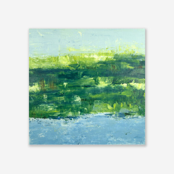 Lake Reflection IV Green Abstract Art With Water