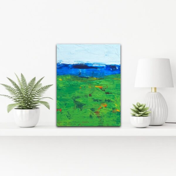 Golf Art Blue and Green Abstract