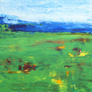 Golf Course Abstract Painting with blue sky